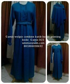 Gamis-wolpeach-Syari-Kombinasi-Batik-Paket-Kerudung-Cadar-online
