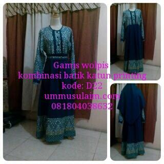 Gamis-wolpeach-Syari-Kombinasi-Batik-Paket-Kerudung-Cadar